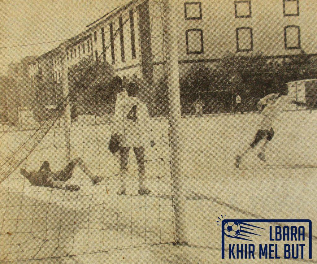 Le premier but du NAHD contre l'ASO. De gauche à droite : Benfoddah, Abed, Bacha, Aouar.
