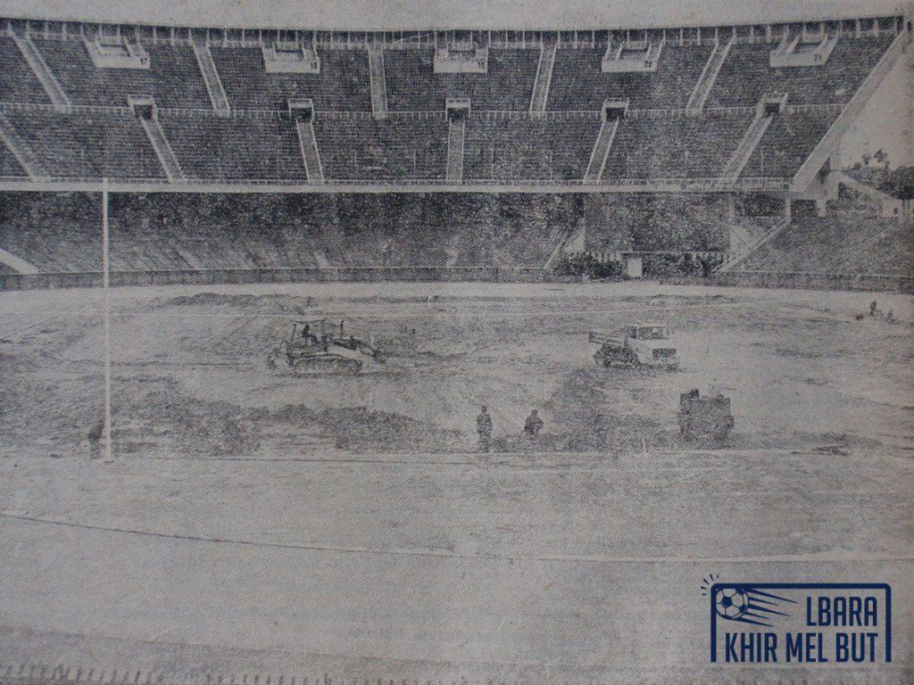 Le début des travaux au stade du 5-Juillet-1962 en janvier 1981.